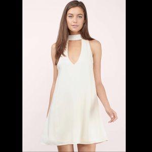 White collared shift dress